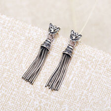 925 Sterling Silver Vintage Cat Charm Stud Long Tassel Drop Dangle Earrings