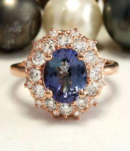 3.60 Carat Natural Tanzanite and Diamonds in 14K Solid Rose Gold Women Ring