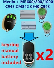 2x Merlin+ MR600 MR800 MR1000 C945 CM842 C940 C943  Garage Door Remote