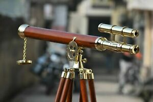 """Nautical Navy Brass Double Barrel 32"""" Telescope With Wooden Tripod Stand Marine"""