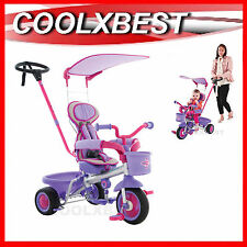 NEW EUROTRIKE ULTIMA PLUS + TRICYCLE with CANOPY & PADDED SEAT PINK PURPLE GIRL