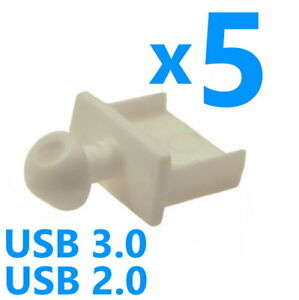 5x White USB 2.0 / 3.0 Type A Male Dust Cover / Cap PC Laptop Notebook Computer