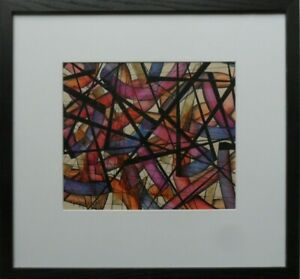 CHRISTOPHER STURGESS-LIEF 1937-2011 RARE SIGNED ABSTRACT MIXED MEDIA PAINTING