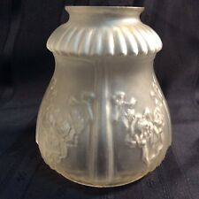 Vintage frosted glass light shade with floral designs ( V 2 )