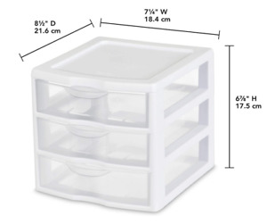STERILITE 20738006 SMALL 3 DRAWER MINI ORGANIZER WHITE WITH CLEAR DRAWERS