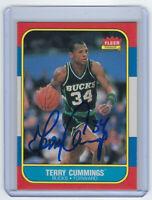 1986 BUCKS Terry Cummings signed Fleer card #20 AUTO Autographed Milwaukee