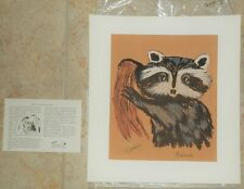 Tewa Hand Made Silk Screen Racoon Print #602 New Mexico Signed Vintage 50's