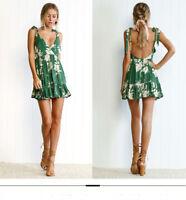 Women's Summer Backless Boho Short Dress Sexy V Neck Casual Beach Mini Dresses