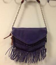 Nanette Lepore Fringe Clutch V crochet woven bag NWT Blue So Cute!
