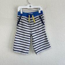 Mini Boden Gray and Navy Blue Striped Baggies Drawstring Shorts Boys size 4
