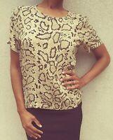Halston 100% Silk Snakeskin Print Shirt