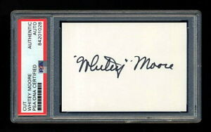 WHITEY MOORE SIGNED MINT CUT PSA/DNA 1940 CINCINNATI REDS WORLD SERIES CHAMPIONS