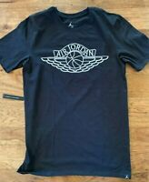 Jordan men's Wings Logo Black Cotton Tee T-Shirt Small
