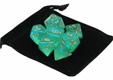 New Chessex Polyhedral Dice with Bag Light Green Borealis 7 Piece Set DnD RPG