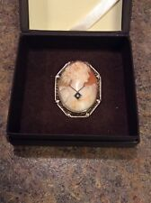 Antique 14K Gold And Diamond Cameo Pin Brooch / Pendant