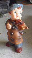 Vintage 1960s Japan Vinyl Squeeky Boy with Violin Figure Toy