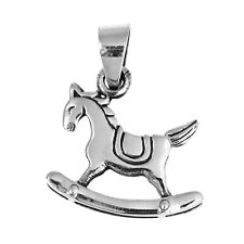 Cute 21mm 2-sided Rocking Horse .925 Silver Pendant
