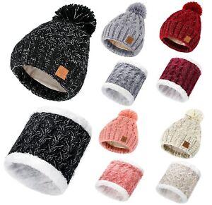 Kids Girl Scarf Hat Or Set Winter Beanie Hat Girls Hats Knitted Fleece Lining
