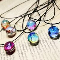 Glow in the Dark Dreamy Starry Stars Glass Galaxy Pattern Pendant Necklace Gift