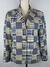 BROOKS BROTHERS Blazer Women's 10 Blue Tan Patchwork Cotton Lined Pockets Jacket