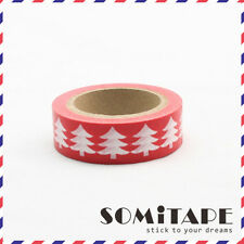 White Christmas Tree Red  Washi Tape, Craft Decorative Tape