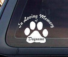 CUSTOM In Loving Memory Cat Dog Pet Car Decal / Sticker - White