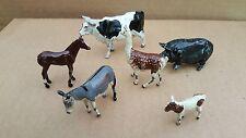 6 VINTAGE METAL FIGURINE Farm Animals cow pig llama horse donkey MADE in ENGLAND