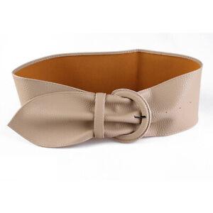 Women Wide Leather Belts for Dresses Blouse Buckle Ladies Red Camel Long Belt