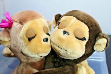 "Vintage 1975 Dakin Kissing Hugging Monkeys Pair 10"" Plush Stuffed Animals"