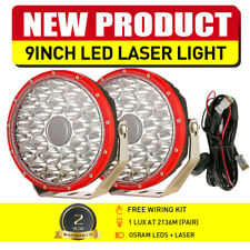 "9"" LED Laser Lights Pair RED Round Spot Work Driving Headlights Boat Offroad 4X4"