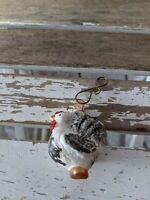 Smith Hawken Rooster Chicken Blown Glass Mini Xmas Holiday Tree Ornament RARE