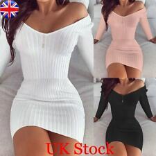 Women Long Sleeve V Neck Knitted Jumper Dress Ladies Plain Bodycon Mini Dress UK