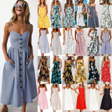 UK Womens Strappy Buttons Pocket Dress Summer Beach Midi Swing Sundress Holiday