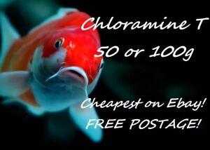 Chloramine T Koi Carp Pond Bacteria Parasite Treatment Medication 50g or 100g