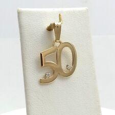 14K Gold Number No 50 Birthday Anniversary Diamond Charm Pendant
