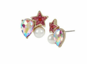Betsey Johnson B14437-E01 Magical Show Cluster Star & Pearl Pink Stud Earrings