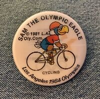Cycling 1984 Olympic Pinback Button Pin ~ Holographic Hologram ~ Sam the Eagle