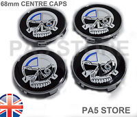 4 EVIL SKULL CENTRE CAPS 68mm WHEEL HUB BMW F10 E60 E46 E36 E90 E34 Universal UK
