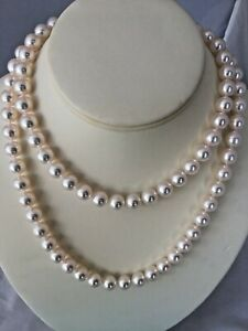 """EXQUISITE  34.5"""" LONG  AUTHENTIC TIFFANY & CO 9.5 AKOYA PEARL NECKLACE"""