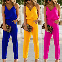 Womens Summer Strappy V-Neck Jumpsuit Romper Sleeveless Slim Playsuit Overalls