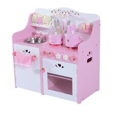 HOMCOM  Cucina Giocattolo per Bambini in Legno con Accessori 60x30x63cm Rosa