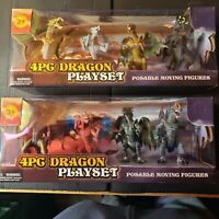 4 piece Dragon Playset, 2 sets selling together. Posable Figures, Meihetai Toys