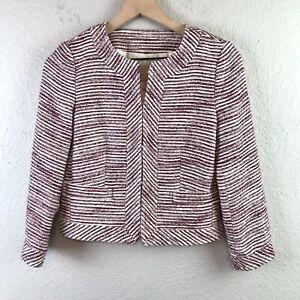 Banana Republic Factory Women's 00 Petite Striped Knit Blazer Jacket