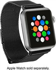 Platinum - Magnetic Stainless Steel Mesh Band for Apple Watch 38mm/40mm - Black