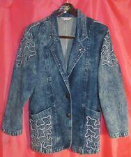 Golden River Rhinestone Studded Denim Blazer Paris Modern Sportsman Club Jacket