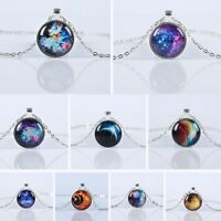UK GALAXY PENDANT NECKLACE / Gift Idea Chain Jewellery Space Star Moon Nebula