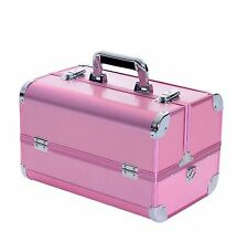 "Soozier Makeup Case Professional Cosmetic Organizer Train Travel 14"" Pink"