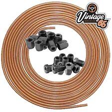 """Copper Brake Pipe Line 3/16"""" 25ft  24 x Male Female Brake Nuts 3/8"""" Unf x 24Tpi"""