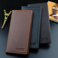 Men's Bifold Leather Long Wallet ID Credit Card Holder Slim Purse Clutch Handbag