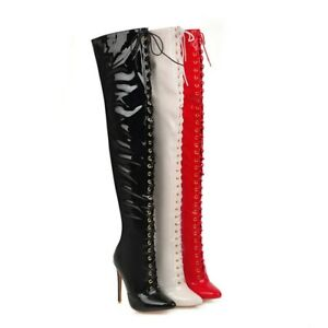Ladies Club Shoes Platform Slim High Heels Zip Lace Up Over The Knee High Boots